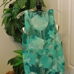 Teal Green and Blue Sleeveless Blouse